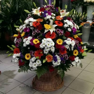 Корзина круговая  из хризантем, гербер, лилий и роз